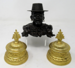 672. Antique Chinese Japanese Bronze Inkwell Male Bust Pair French Ormolu Desk Set