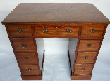 021. Exceptional Flame Mahogany Twin Pedestal Desk Late 18th Ct