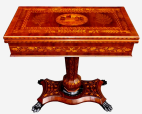 099. Stunning Example of A Rare Irish Mid-Victorian Marquetry Arbutus-Wood Games Table