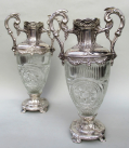 576. Superb Pair French Hand Cut Crystal Twin Handle Vases 19thCt
