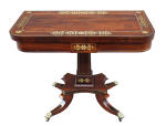 307. Exceptional Regency Rosewood Brass Inlaid Fold Over Card Table early 19thCt