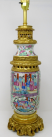 171. Cantonese Famille Rose Hand Painted Table Lamp Ormolu Mounted 19thCt