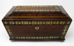 104. Superb Regency Brass Inlaid Rosewood Tea Caddy early 19thCt