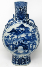 328. Superb LARGE Chinese Export Porcelain Hand Painted Blue White Moon Flask 19th Ct