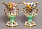 625. Exceptional Pair English Coalport Flower Encrusted Vases early 19thCt