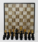 624. Fine Marble Alabaster Chess Set Boxwood and Ebony Chess Pieces early 20thCt