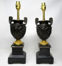 335. Pair Marble Ormolu and Bronze Dore Electric Table Lamps C Delpech 19th Century