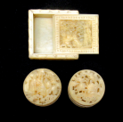 991. Collection Chinese Canton Carved Ivory Boxes with Mother Pearl Counters early 19thCt