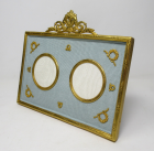 562. Antique French Gilt Ormolu Twin Portrait Photo Picture Frame 19th Century