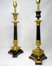 077. Fine Pair French Patinated Bronze and Ormolu Table Lamps Mid 19th Century