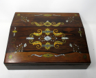690. Rare Irish Rosewood Mother of Pearl Writing Slope by Austins Dublin Circa 1860