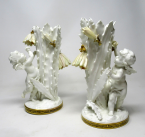 966. Pair English Moore Brothers Porcelain Cream Gilt Cherub Vases Centerpieces 19thC