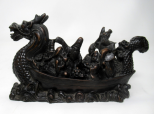 405. Antique Chinese Dragon Carved Bovine Horn Boat Ship Male Figures Guangxu Period