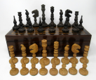 199. Antique Set Jacques Staunton Hand Carved Boxwood and Rosewood Chess Board Pieces