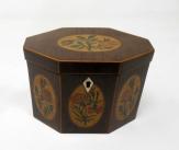 204. Antique George III Harewood Boxwood Inlaid Hexagonal Single Tea Caddy 19th Century