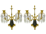 253. Antique Pair Ormolu Bronze Marble Crystal Twin Branch Candelabra French Lusters