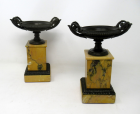389. Pair French Grand Tour Ormolu Bronze Dore Sienna Marble Tazza Urns Vases 19thCt