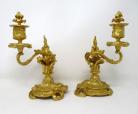301. Pair French Ormolu Gilt Bronze Rococo Candlesticks Manner of Juste Aurele Meissonier