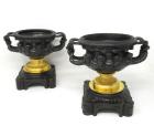 948. Antique Pair French Ormolu Bronze Warwick Albani Grand Tour Vases Urns Clodion