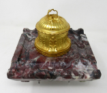 299. Antique French Ormolu Gilt Bronze Breche Violete Marble Desk Inkwell Centerpiece