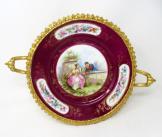 379. Antique French Sevres Ormolu Gilt Bronze Porcelain Tazza Cabinet Plate Centerpiece