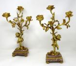421. Antique Pair French Breche Violet Gilt Bronze Candelabra Candlesticks 19Ct