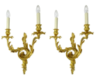 346. Antique Pair of Ormolu Gilt Bronze Twin Light Wall Candle Sconces Appliques 19Ct