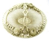 834. Antique Irish Belleek Porcelain Four Strand Basket Centerpiece 1865-1889 Ireland
